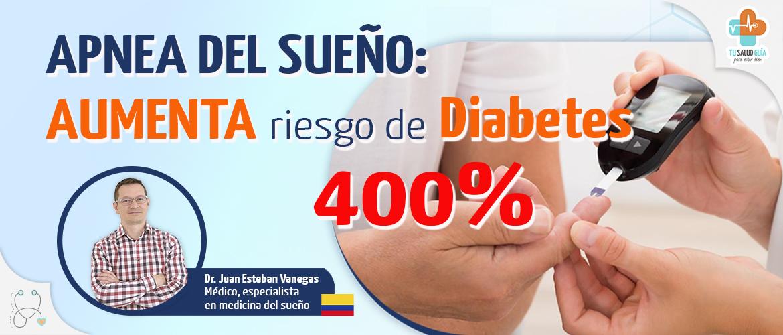 Apnea del sueño aumenta riesgo de diabetes 400%